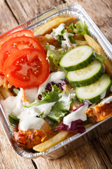 Kapsalon is a fast food dish, consisting of of french fries, chicken, fresh salad and sauce into a disposable metal take-away tray. Vertical