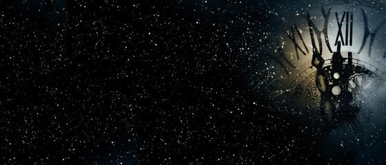 Clock time at the midnight starry sky Fotoväggar