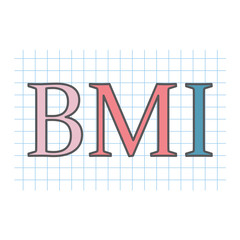 BMI (Body Mass Index) acronym written on checkered paper sheet- vector illustration