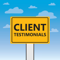 client testimonials written on a billboard- vector illustration