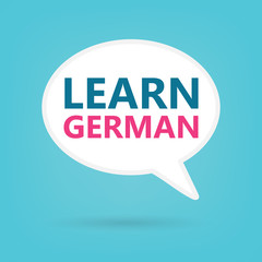 learn german written on a speech bubble- vector illustration