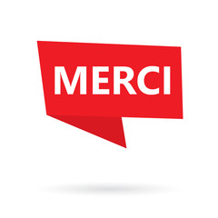 merci (thank you in french) acronym on a sticker- vector illustration