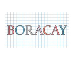 Boracay word on checkered paper texture- vector illustration