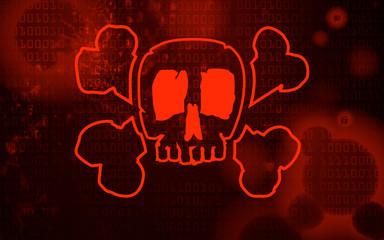 Malware Computer Virus at a screen - Skull
