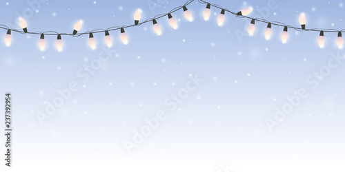 Christmas Fairy Lights Illustration.Christmas Fairy Lights On Snowy Bright Winter Background