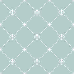 Seamless pattern. Modern geometric ornament with white royal lilies. Classic vintage background