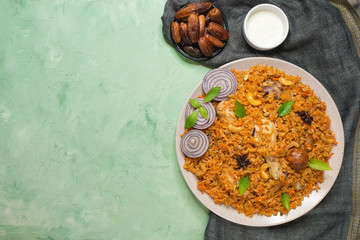 Delicious spicy chicken Biryani, it's a popular Indian and Pakistani food.