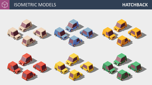 Vector Personal Cars Set in Six Colors.