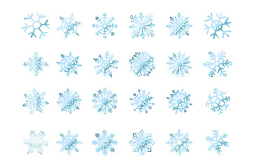 set of vector snowflakes blue flake of snow gradient