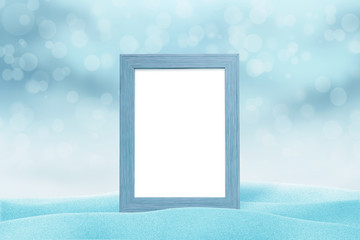 Winter, Christmas, New Year picture frame mockup. Blue light with bokeh in background.