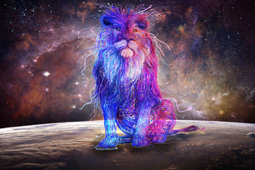 Abstract Multicolored Lion Sitting On Top Of A Colorful Globe With A Galaxy On The Background