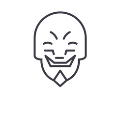 Grimacing Mask Emoji concept line editable vector concept icon. Grimacing Mask Emoji concept linear emotion illustration