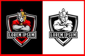 amazing tiger cartoon character with broken spartan helmet and shield vector badge or crest logo template