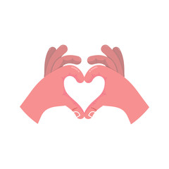 Two hands making heart sign. Love, romantic relationship concept Isolated vector illustration modern flat style valentine day teamwork