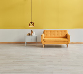 Modern yellow room, yellow sofa wooden lamp and grey cabinet style.