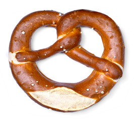Delicious pretzel with salt, german food. Bretzel, traditional bavarian food, isolated on white background.