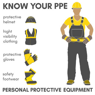 Personal Protective Equipment vector illustration objects set