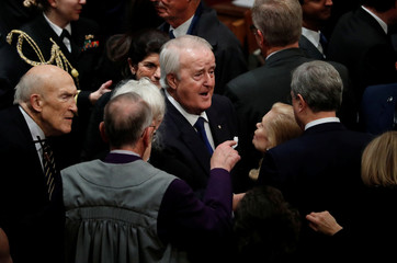 Former Canadian Prime Minister Mulroney arrives at state funeral for former U.S. President George H.W. Bush at Washington National Cathedral
