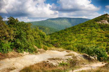 Mountains and hills. Black sea coast. Bright summer landscape and clean air.