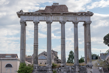 The Roman Ruins - The Temple of Saturn, Italy
