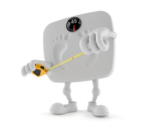 Weight scale character holding measuring tape
