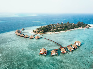 Island resort in Indian ocean, Rannalhi, Maldives aerial view