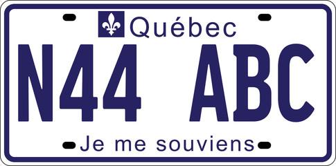 Plaque d'Immatriculation québécoise