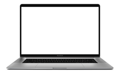 Laptop with blank screen isolated