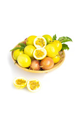 Fresh passion fruit in basker on white background.