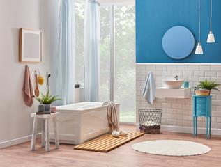 Bath room luxury decor, tub sink and mirror object, ceramic wall decor.