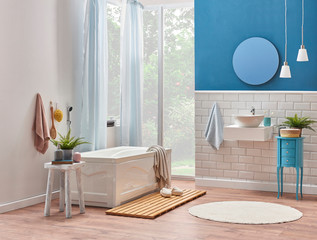 Decorative bath room style interior, white tub, sink and mirror decoration. Modern bath room style.