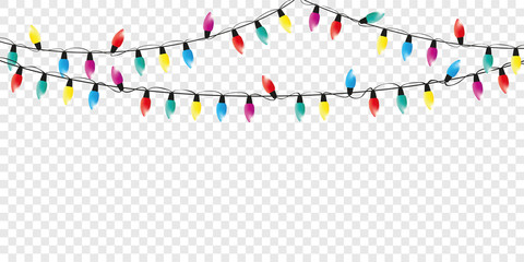 colorful christmas fairy lights decoration isolated party template vector illustration EPS10