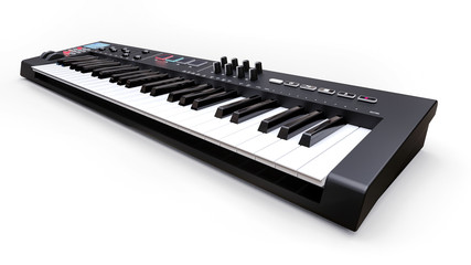 Black synthesizer MIDI keyboard on white background. Synth keys close-up. 3d rendering.