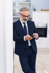Middle-aged businessman with telephone