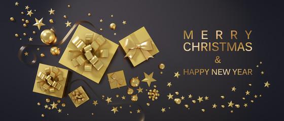 Grußkarte - Goldene Geschenkpakete und Päckchen auf schwarzem Untergrund