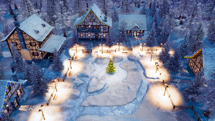 Aerial view of cozy snow covered european village with half-timbered houses and decorated Christmas tree on snowbound square at snowy winter night. Festive 3D illustration.