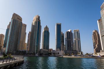 Dubai, UAE - October, 2018. Modetn city of the luxury center of Dubai, United Arab Emirates