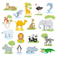 Wild animals and sea creatures set with landscape