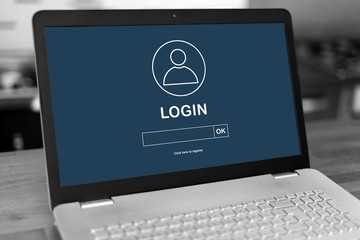 Login concept on a laptop