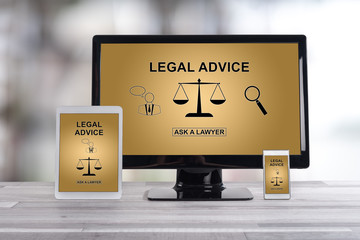 Legal advice concept on different devices