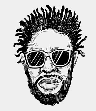 Sketch of african american man in sunglasses. Hand drawn illustration converted to vector