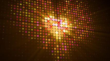 Heart shape of LED dots on digital monitor 3D illustration
