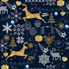 Seamless Christmas pattern with festive ornaments and golden deer
