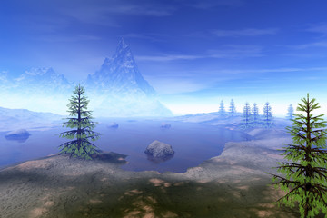 Coniferous trees, a beautiful  landscape, stones in the lake, a snowy mountain and a blue sky.