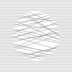 Abstract composition. Black and white illustration. Parallel lines intersect in a circle. Vector design texture