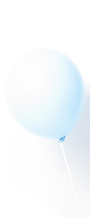Blue balloon on white background with shadow. Strong light.