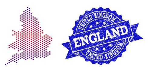 Geographic combination of dotted map of England and grunge seal stamp. Mosaic vector map of England created with square dots and gradient from blue to red color. Flat design for patriotic purposes.