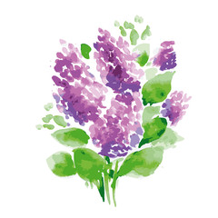 Lilac branches bouquet on white background artwork