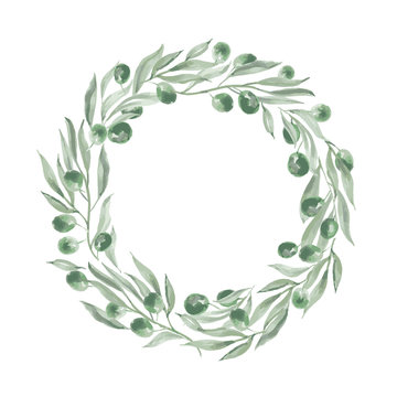 round frame with olives and leaves.