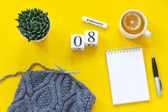 Wooden cubes calendar February 8th. Cup of tea with lemon, empty open notepad for text. Pot with succulent and fabric on knitting needles on yellow background. Top view Flat lay Mockup Concept.